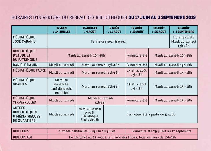 Horaires d'ouverture des bibliothèques du 17 juin au 30 septembre 2019